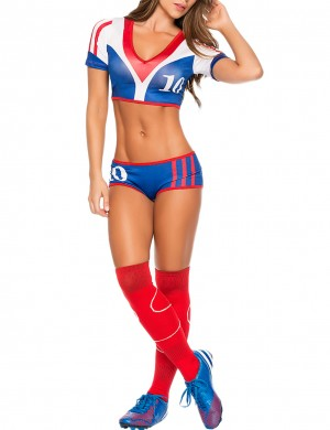 Fiery 3 Pieces 10th Cheerleader Cosplay Set Contrast Color Ultra Hot