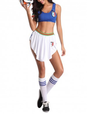 Distinguished Blue Italy Team Football Baby Cosplay Set Skirt High Quality