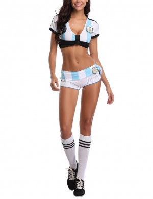 Light Blue Argentine Team Soccer Baby Costume 3 Pieces Side Bowknot