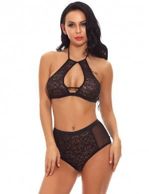 Seductive Black Halter Bralette Sets Cut Out Dreamgirl