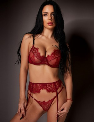 Euphoric Wine Red Garter Belt Hollow Bralette Set Lace Mesh Modern Fit All Over