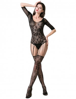 Black Floral Lace Bodystocking Open Back Boudoir Time