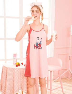 Striking Pink Cartoon Print Sling Midi Nightdress U Neck