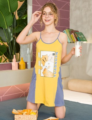 Inexpensive Cartoon Contrast Color U Neck Nightdress Slim Fitting All Over