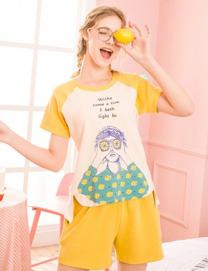 Delicate Lemon Short Sleeve Pocket Two Piece Sleepwear All Over Comfy