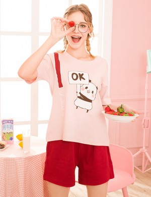 Close Fitting Pocket Short Bottom Print 2 Pcs Sleepwear Gentle Fabric