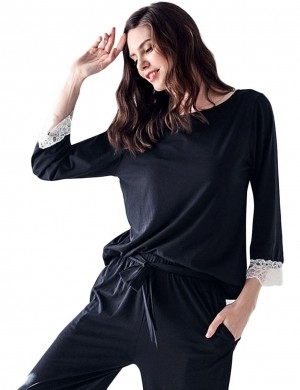 Well-Suited Waist Tie Black Modal Lace Trim Pajama Set Undergarment