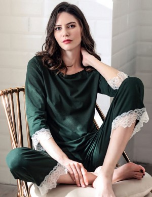 Global Boat Neck Army Green Modal Knot Pajama Set Lace For Beauty Woman