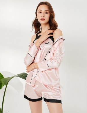 Enthralling Pink Pocket Button Lapel Neck Silk 3 Pcs Sleepwear Mature Women
