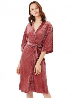 Aphrodisiac Velvet Ribbed Brown Half Sleeve V Neck Nightgown Wholesale