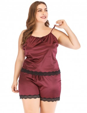 Glam Wine Red Faux Silk Big Size Lace Bow Tie Sleepwear Set Soft-Touch