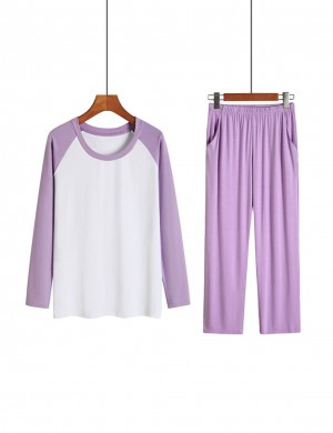 Flirty Purple Contrast Color Sleepwear Suit Pocket Wedding Night