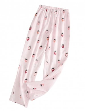 Pink Sleepwear Loose Strawberry Print Full Length For Dreamgirl