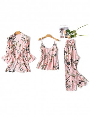 Adorable Sleepwear Set Long Sleeve Flower Pattern Breathable