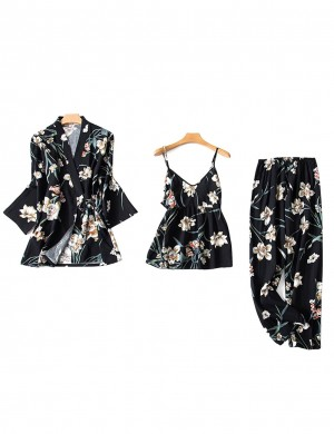 Evening Floral Paint Full Length Sleepwear Set Modern Fit All Over