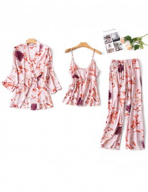 Lady Sleepwear Set Full Sleeve Flower Paint Ladies