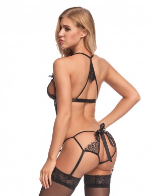 Favorite Lace Eyelash Black Cut Out Teddy With Garter Belts Affordable
