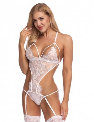 Classy White Hollow Out Design Teddy Lingerie With Garter Belts