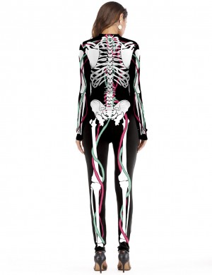 Eye Catch Long Sleeve Halloween Zip Black Costume Jumpsuit Feminine Fashion Trend
