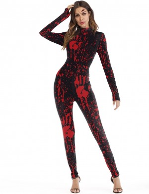 Vibrant Halloween Cosplay Romper Red Splatter Costume For Beauty