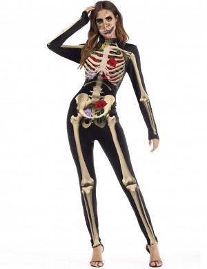 Exotic Skeleton Bones Pattern Halloween Cosplay Costume Cream Fashion Shop Online