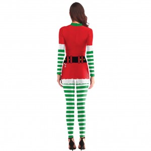 Suave Digital Printing Christmas Cosplay Jumpsuit Stripe Fashion Design