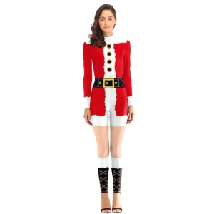 Vibrant Santa Claus Costumes Jumpsuit Back Zippers For Beauty