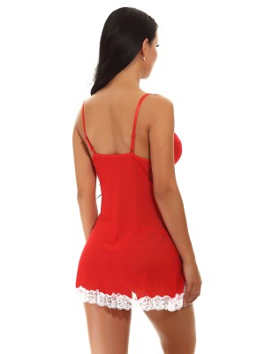 Flossy Red Lace Irregular Hem Straps Babydoll Fashion Nightwear