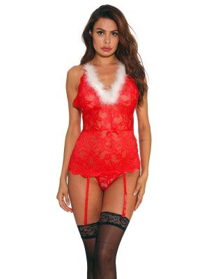 Tempting Red Cross Back Babydoll With Straps Dissolute Midnight