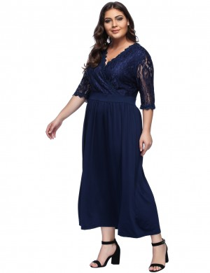 Fabulously Navy Blue Large Surplice Neckline Long Lace Dress
