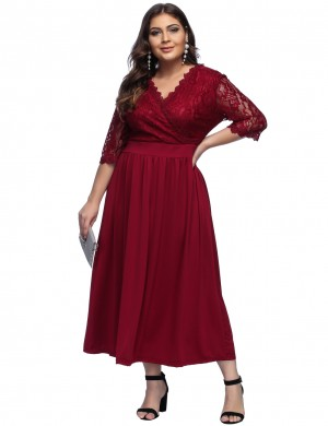 Trendy Red Zipper Ankle-Length Lace Dress Plus Home Dress