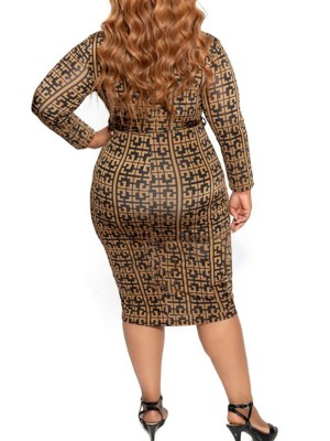 Sultry Bodycon Dress Plus Size Long Sleeves Holiday Fashion