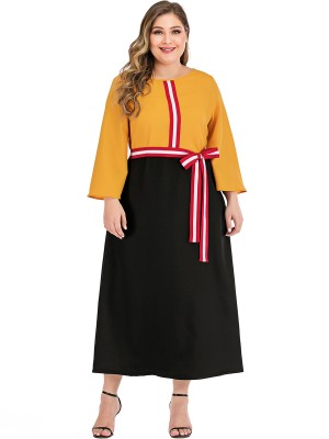 Modern Ladies Yellow Patchwork Maxi Length Plus Size Dress Natural Fit