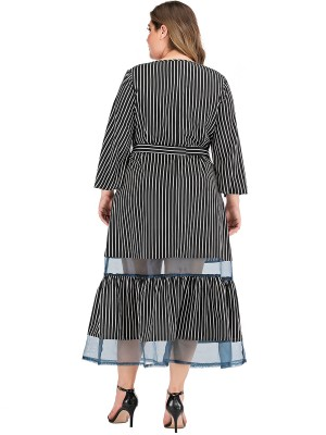 Bewitching Black Stripe Print Queen Size Dress Sheer Mesh For Women