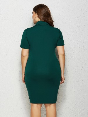 Slip Green Big Size Dress Solid Color Short Sleeve Form Fit