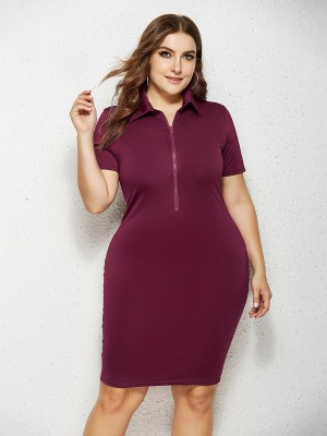 Women Wine Red Turndown Collar Plus Size Dress Zipper Versatile Item