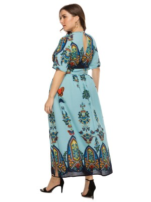Fantastic Light Blue Hollow Out High Waist Maxi Dress Vacation Time