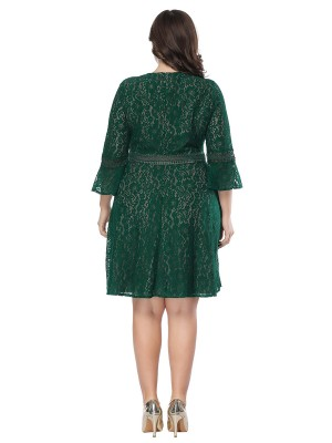 Astonishing Green Lace Plus Size Dress Zip At Back New Fashion