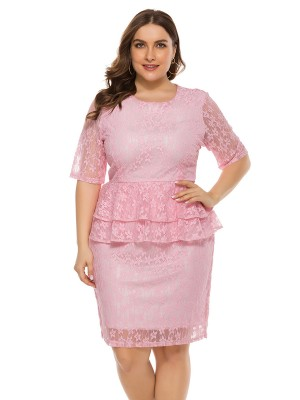 Beautifully Designed Pink Half Sleeve Plus Size Dress Lace Essential Choice