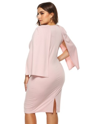 Glaring Pink Solid Color Big Size Dress Cape Sleeve Amazing Look