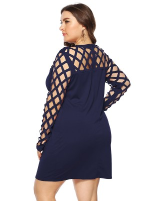 Entrancing Purplish Blue Long Sleeve Cutout Large Size Dress