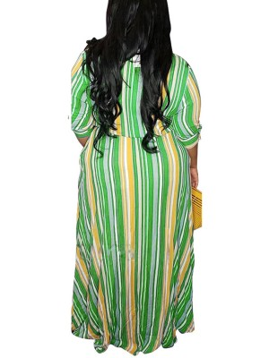 Feminine Curve Green Stripe Print Plus Size Dress Button