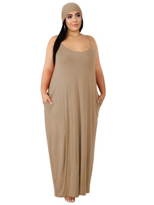 Energetic Khaki Queen Size Dress Slender Strap Leisure Fashion