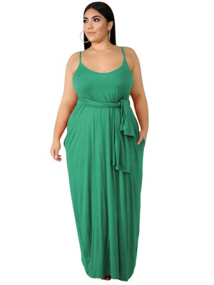 Delightful Grass Green Full Length Sling Large Size Dress Womens Fashion