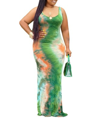 Sleek Sleeveless Plus Size Dress Tie-Dyed Feminine Elegance