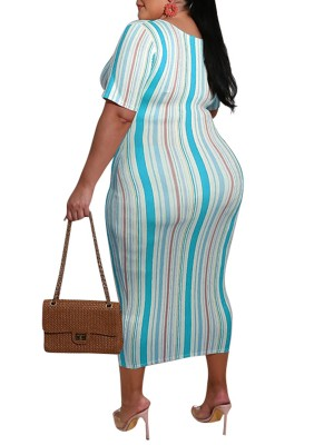 Excellent Blue Striped Front Tied Large Size Dress Charming