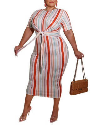 Individualized Orange Plus Size Stripe Dress Short Sleeves Breath