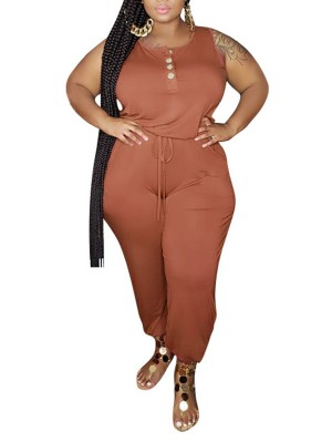Abstract Orange Front Button Jumpsuit Big Size Plain Female Charm