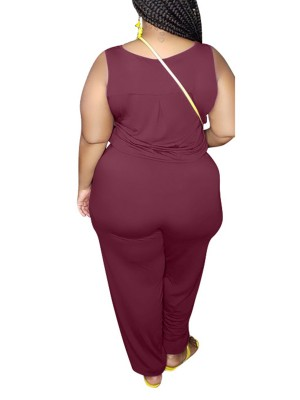 Lusty Wine Red Plus Size Jumpsuit Sleeveless Knitted Great Quality