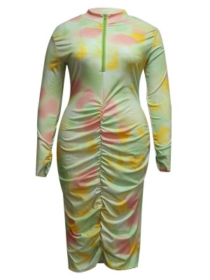 Ruched Plus Size Dress Tie-Dyed Print Feminine Fashion Trend